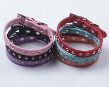 Pet Collar PU Leather with Bling Rhinestone for Puppy Dog Cat Size XXS--M. PC06