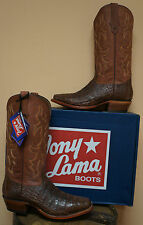 MENS TONY LAMA DARK COGNAC VINT BELLY CAIMAN COWBOY WESTERN BOOT BH6007