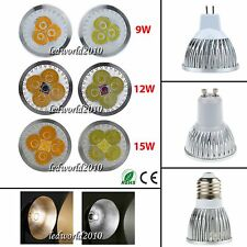 Lot Dimmable 9W 12W 15W MR16/E27/GU10 CREE LED Spotlight Downlight White Bulbs