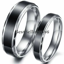 Stainless Steel Vintage Black Flat Wedding Band Love Engagement Promise Ring