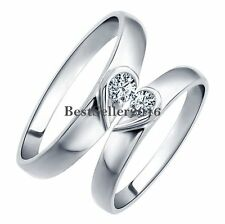 Matching Heart Shape Silver Love Engagement Promise Ring Lovers Wedding Band