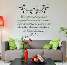 Design Your Own Song Lyrics or Quote, Vinyl Wall Art Stickers, Bedroom, Lounge