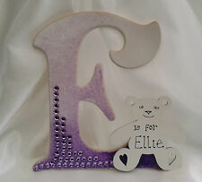 Hanging wooden letter - personalised new baby, nursery gift - customised present