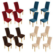 4Pcs Comfy SUPER FIT Protector Removable Covers Stretch Short Dining Chair Cover