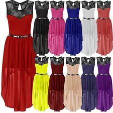 New Womens Plus Size Uneven Chiffon Dip Hem Lace Belted Prom Party Dress 8-26