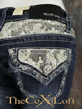 Womens GRACE IN LA Bootcut Jeans White Lace Yokes and Pockets Silver Trim