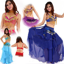 2014 New Belly Dance Costume 2 Pics Bra&Skirt 10 colours Girl Dancing Clothes