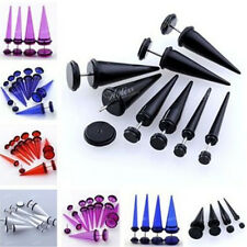 Pair 4-10mm Acrylic Taper Spike Fake Cheater Illusion Men Ear Stud Plug Earrings