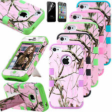 For iPhone 4S 4 Heavy Duty Shock Proof Case Cover with Kick Stand + Screen Gurad