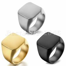 Polished Mens Square Signet Ring Stainless Steel Biker Engagement Band Size 8-14
