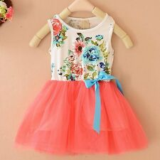 Kids Toddler Baby Girl Clothes Sleeveless Flower Tutu Dress Party Dress 2-6Y