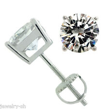 925 STERLING SILVER SOLITAIRE CZ SCREW BACK STUD EARRINGS