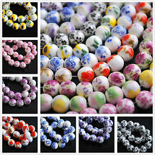Lots Wholesale 10pcs 10mm Flowers Round Ceramic Porcelain Loose Spacer Beads
