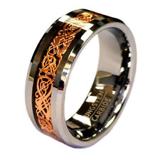 Rose Gold Celtic Dragon 8mm Tungsten Unisex Wedding Band Ring