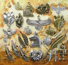 Eagle Wolf Indian Feather Owl -Tibetan Silver Pendants & Charms - USA Seller!!