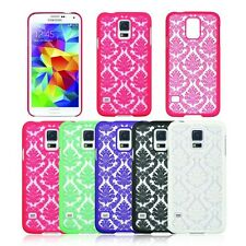 Art Lace Flower Clear Rubber Hard Plastic Phone Case for Samsung Galaxy S5  USA