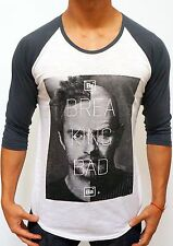 WHITE/CHA fashion BREAKING BAD FACES RAGLAN 3/4 sleeve TSHIRT slim WALTER WHITE
