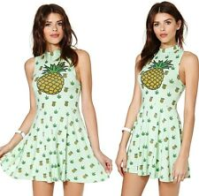 Sexy Womens Pineapple Print Halter Sleeveless Cocktail Party Mini Dress S986TD