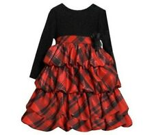 New Bonnie Jean Girl Plaid Christmas Pageant Tiered Ruffle Dress SZ 12 18 24 MO
