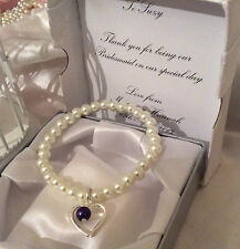 Ivory glass heart charm bracelet any colour charm gift boxes personalised