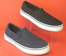 Men Casual Slip On Round Toe Canvas Pump Shoes A1095 In Black & Navy