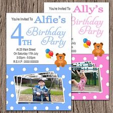 Personalised Photo Birthday Party Invites + envs 1st 2nd 3rd 4th 5th Any Age L01