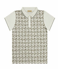 Trussardi Boys Dog Check Polo Shirt White & Grey