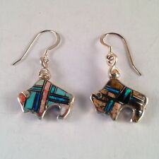 Sterling Silver Reversible Inlay Buffalo Hook Dangle Earrings