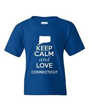 Keep Calm And Love Connecticut State Novelty Statement Youth Kids T-Shirt Tee