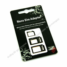 LOT 3in1 Nano to Micro to Full Mini SIM Card Adapters For iPhone 4S 5 5S 6 iPad