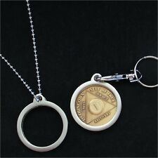 Medallion Holder KEYRING or NECK CHAIN SILVER AA NA CA AlAnon Coin Chip Token