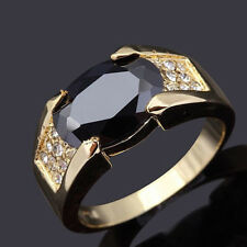 Golden Men's 18KGP Yellow Gold Plated Size 8 9 10 11 12 Black Sapphire RING