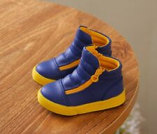 Candy color Baby's Kid's High top Leather sneakers Zipper Shoes Boy Girls Boots