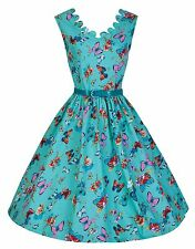 NEW LINDY BOP 'DARIA' 1950's TURQUOISE BUTTERFLY  SUMMER MEADOWS SWING DRESS