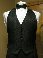 Vest Emerald / Black Paisley Bow Tie Tuxedo Western Steampunk Groom Formal Party