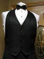 Vest Black Paisley Bow Tie Tuxedo Western Steampunk Groom Formal Party Wedding