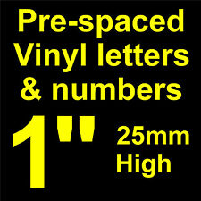 """QTY of: 5 x 1"""" 25mm HIGH STICK-ON  SELF ADHESIVE VINYL LETTERS & NUMBERS"""