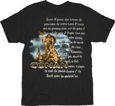 Adult Black Sorcery Adventure Film Conan the Barbarian Silver Text T-shirt Tee