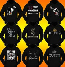 FUNNY STYLE HOODIE JOINT ROLLING KING &QUEEN DESIGN ALL BLAKK PULLOVER