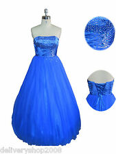 Romantic stars-new tulle blue prom ball lace-up grace evening dress bridesmaid
