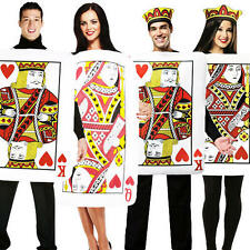 King or Queen of Hearts Playing Card Fancy Dress Adults Fairytale Costume Outfit