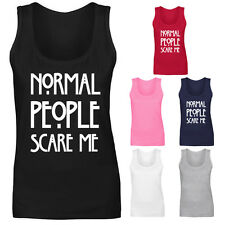 Womens Normal People Scare Me American Horror Story Vest Tank Top NEW UK 8-18