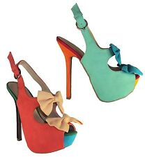 Wild Diva Women Heels Open Pep Toe Ankle Strap Unique Colorful Shoes Bow FELINA