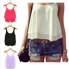 Sexy Chiffon Casual Sleeveless Shirts Women's Summer Loose Vest Tank Blouse Tops