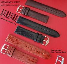 REPLACEMENT GENUINE  LIZARD LEATHER THIN STRAP BLACK/ BROWN FOR YOUR LONGINES