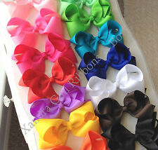 "5"" - Large Toddler Girls Hair Bow Holiday Bows on Alligator Clips"
