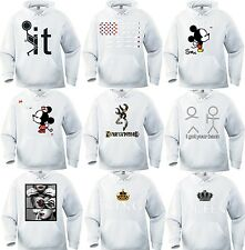 WHITE HOODIE ROLLING SMOKING BROWNING KING & QUEEN JOINT FLAG BLACK PULLOVER