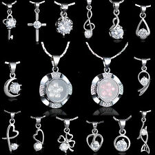 New Jewelry 18K White Gold Plated CZ Crystal Wedding Pendant Necklace Chain Gift
