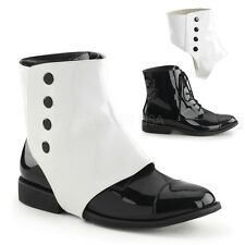 PLEASER MENS Dapper Dandy Formal Victorian Period Costume Ankle Boots With Spats