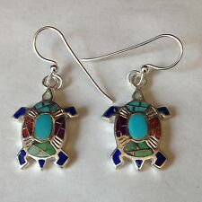 Sterling Silver Inlay Turtle Hook Dangle Earrings